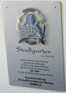 Stadtgarten Wolfratshausen Schild